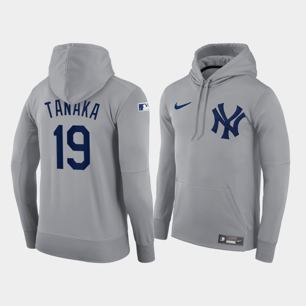 Cheap Men New York Yankees 19 Tanaka gray hoodie 2021 MLB Nike Jerseys